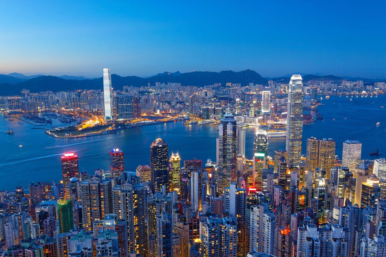 Hong Kong skyline overlooking Victoria Harbour