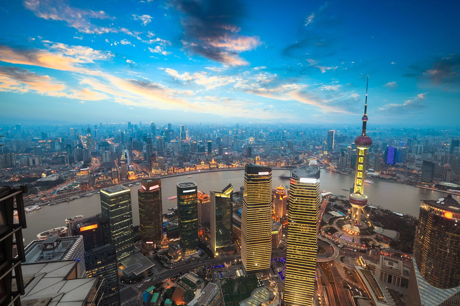 Shanghai Skyline with view of the Oriental Pearl Radio & TV Tower