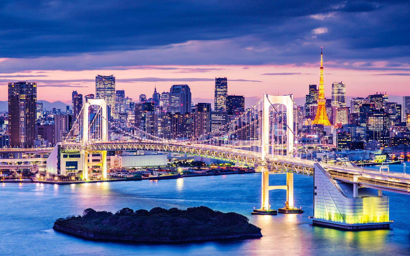 Tokyo skyline overlooking Tokyo Tower